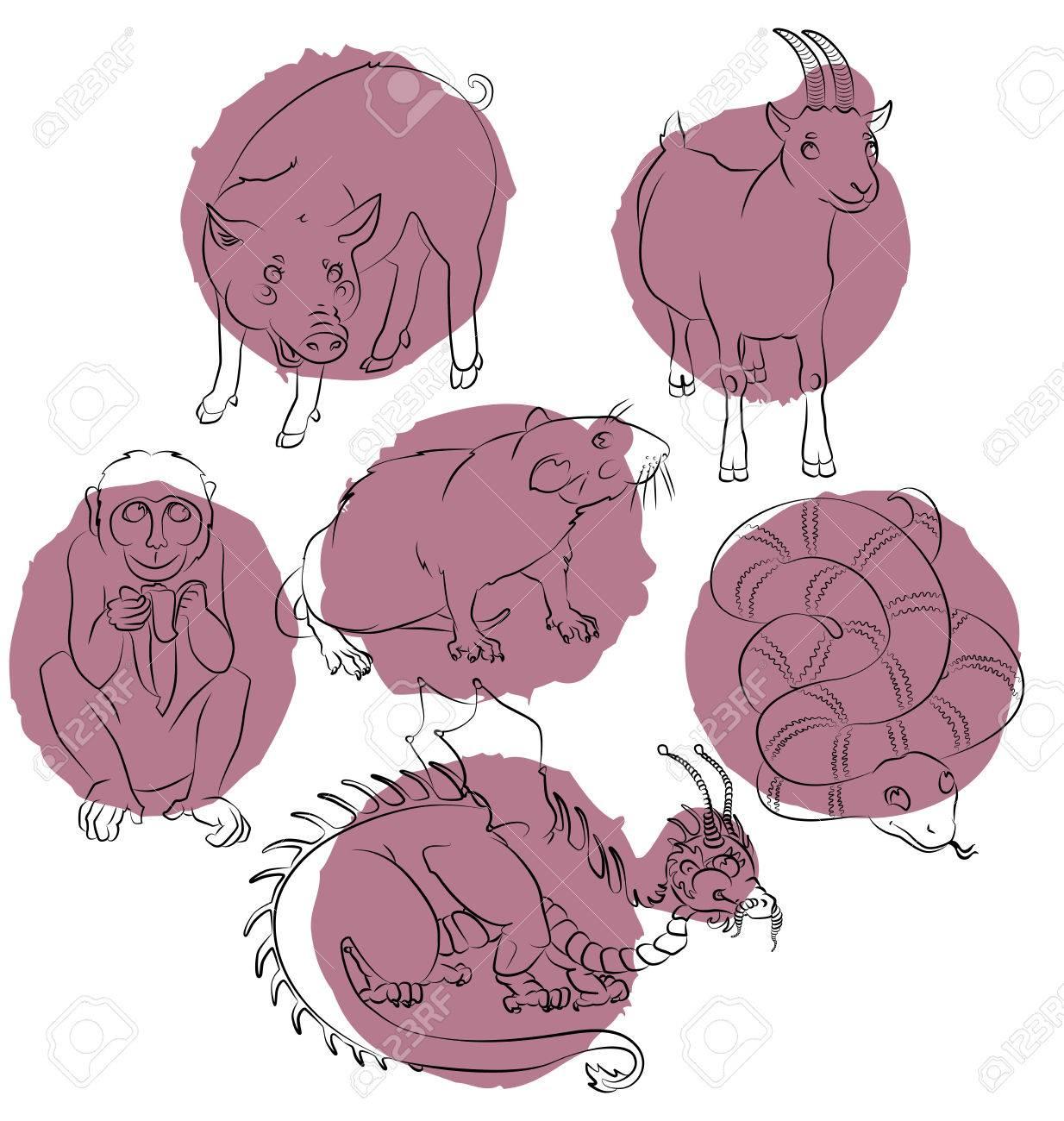 Sechs Chinesische Kalendertiere, Drache, Schlange, Schwein, Ratte ...