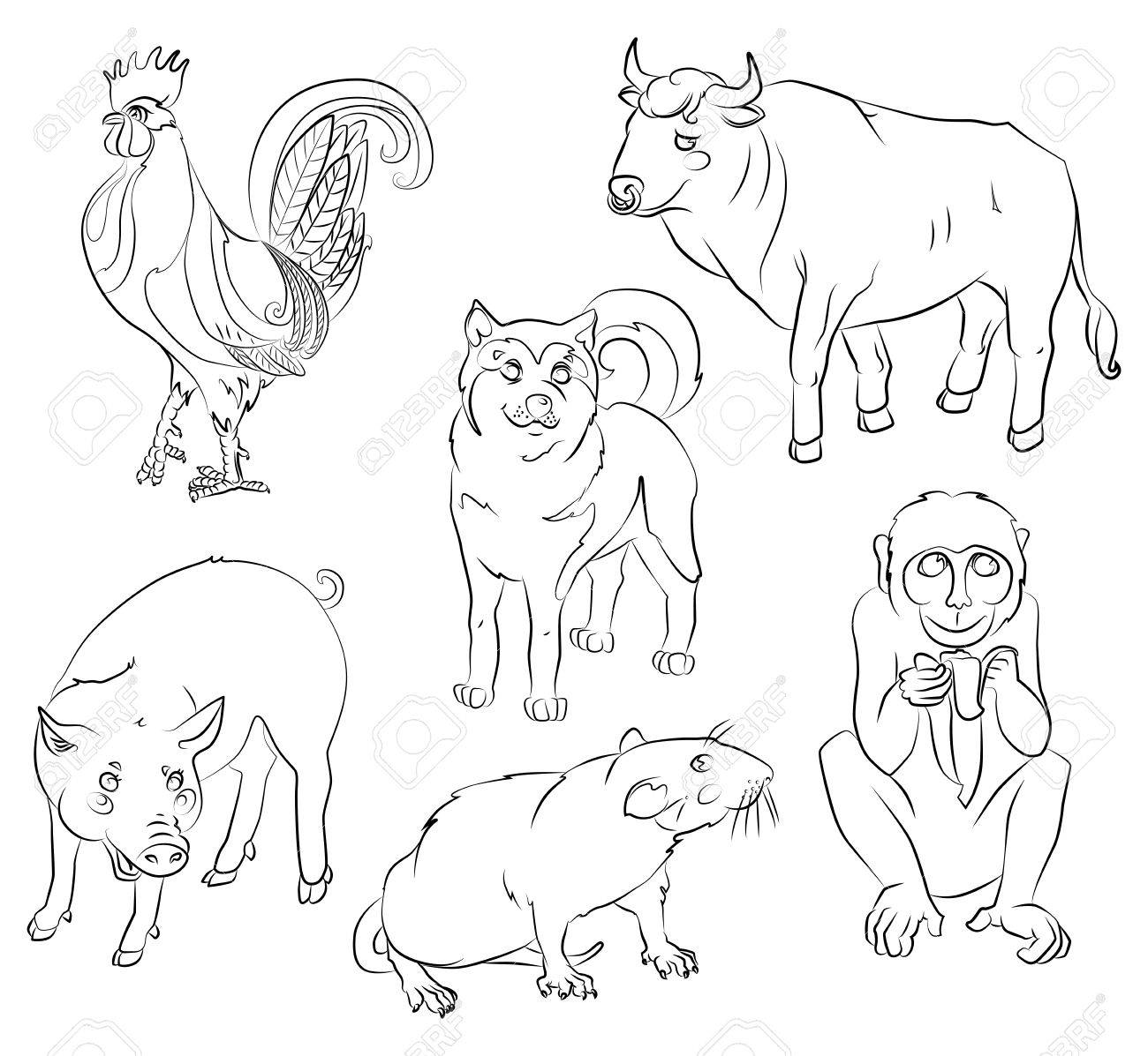 Six Chinese calendar animals, rooster, dog, pig, rat, monkey and ox