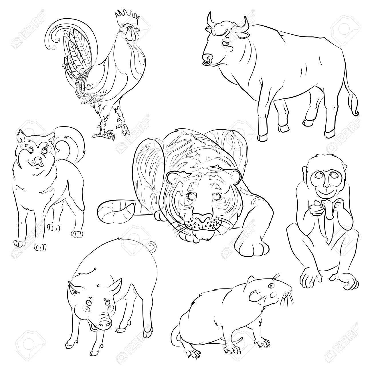 Siete Animales Del Calendario Chino, Gallo, Perro, Cerdo, Rata, Mono ...