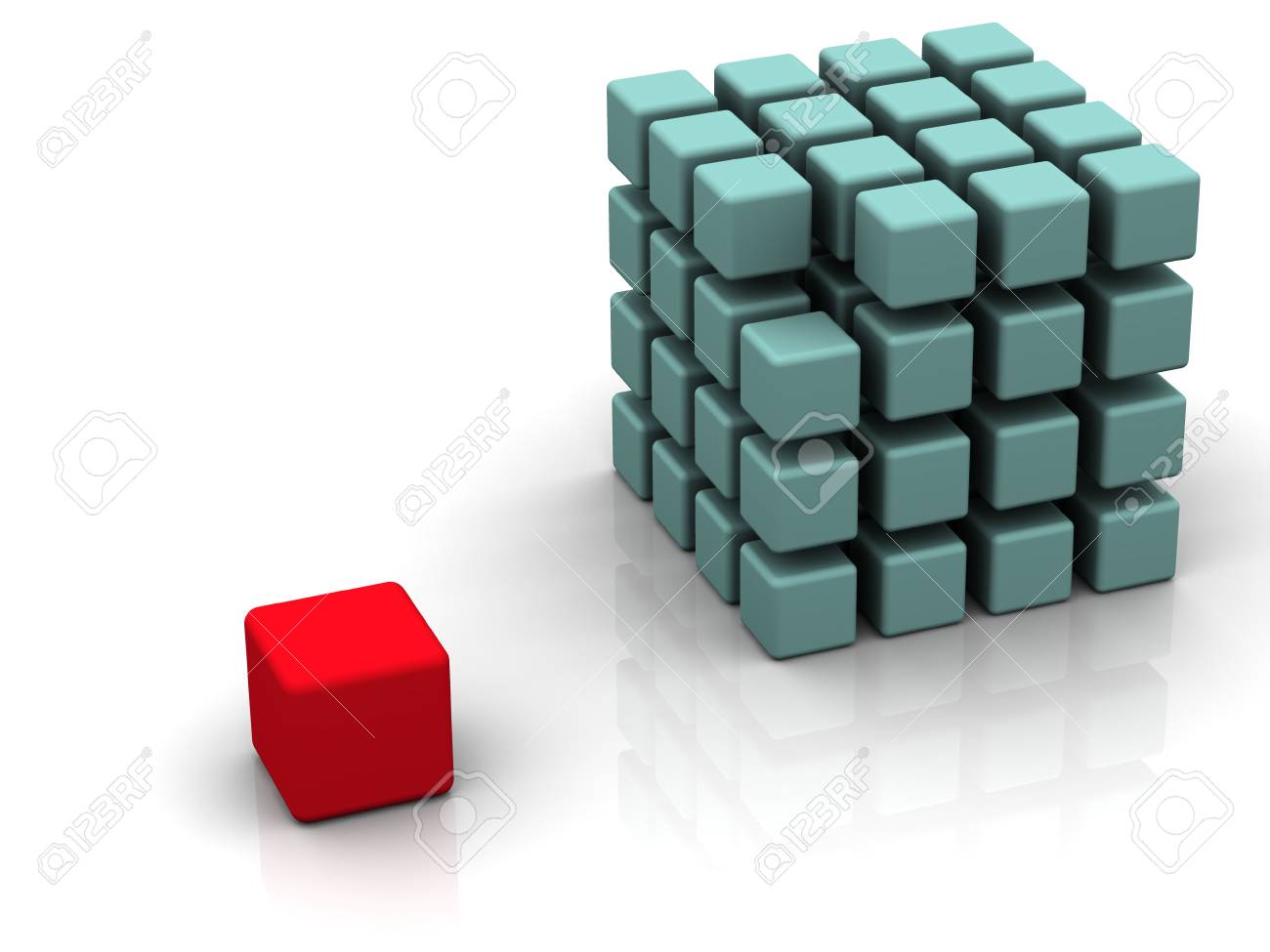 One individuality red cube on the white backround Stock Photo - 905245