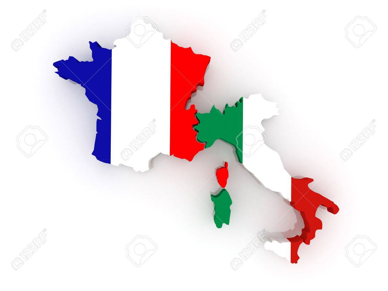 Map Of France And Italy 3d Stock Photo, Picture And Royalty Free ...