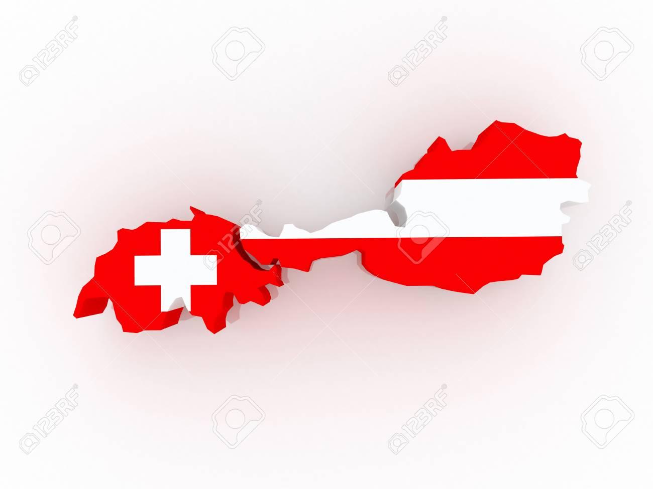 3d Karte Osterreich.Stock Photo