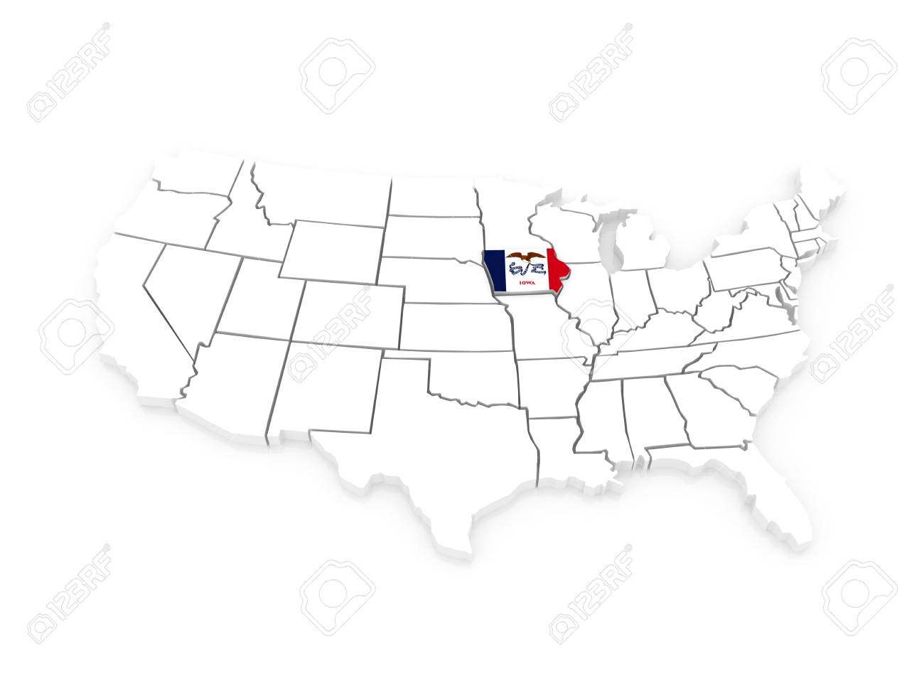 Iowa On Usa Map.Three Dimensional Map Of Iowa Usa 3d Stock Photo Picture And