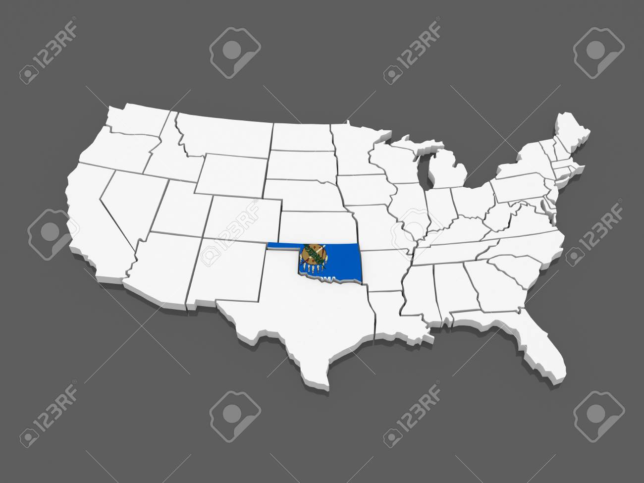 Three Dimensional Map Of Oklahoma Usa 3d Stock Photo Picture And