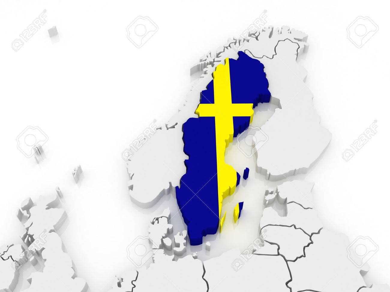 Map Of Europe And Sweden D Stock Photo Picture And Royalty Free - Sweden map 3d