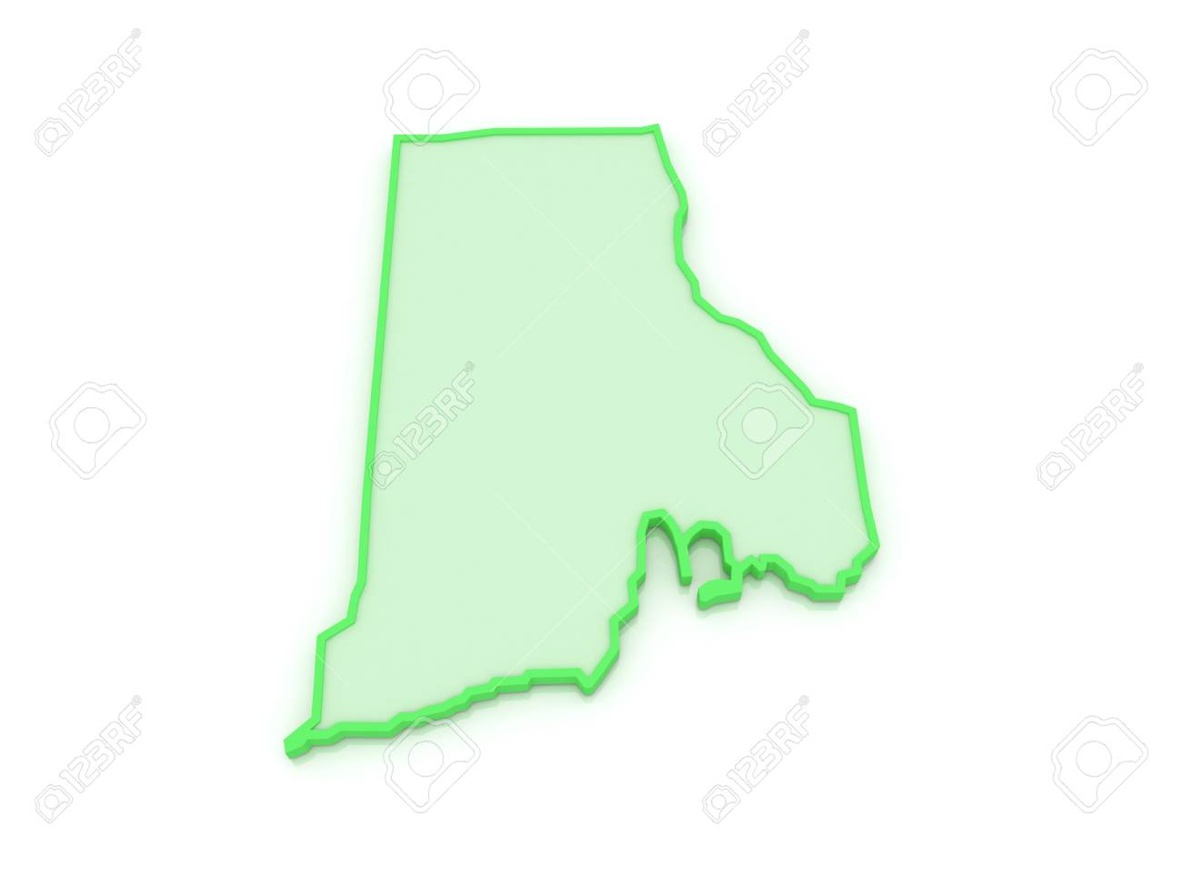 Three-dimensional Map Of Rhode Island. USA. 3d Stock Photo, Picture ...