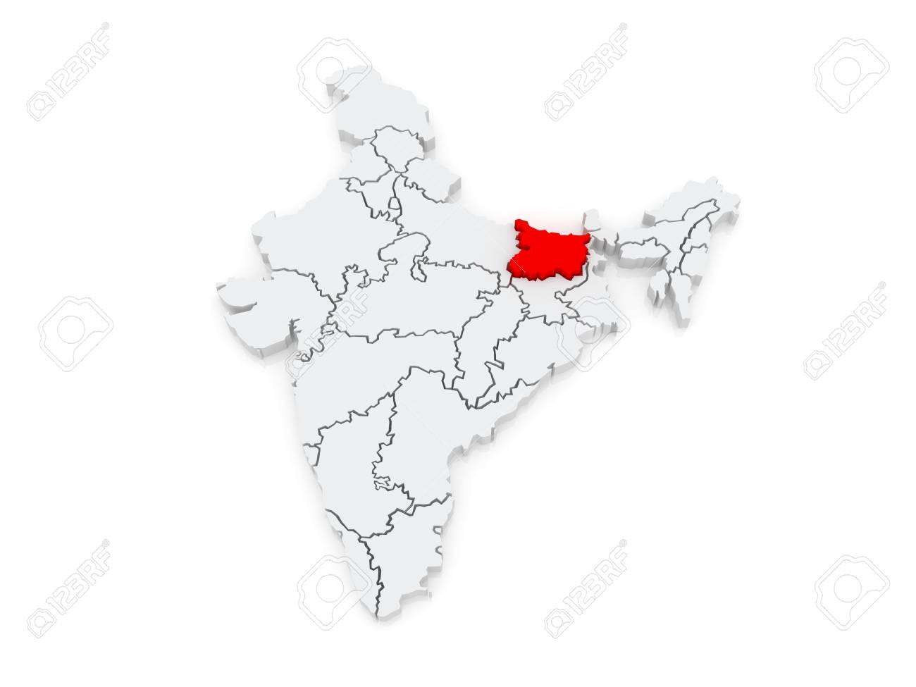 Map Of Bihar India 3d Stock Photo Picture And Royalty Free Image