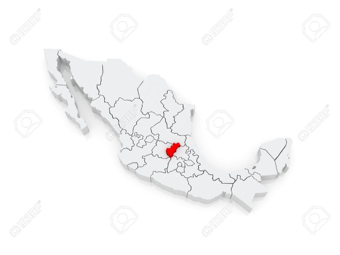 Map Of Queretaro. Mexico. 3d Stock Photo, Picture And Royalty Free Queretaro Mexico Map on