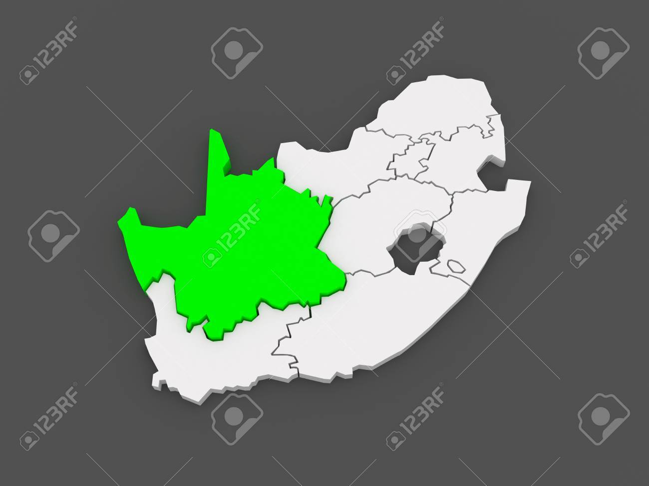 Map Of Africa 3d.Map Of Northern Cape Kimberley South Africa 3d Stock Photo