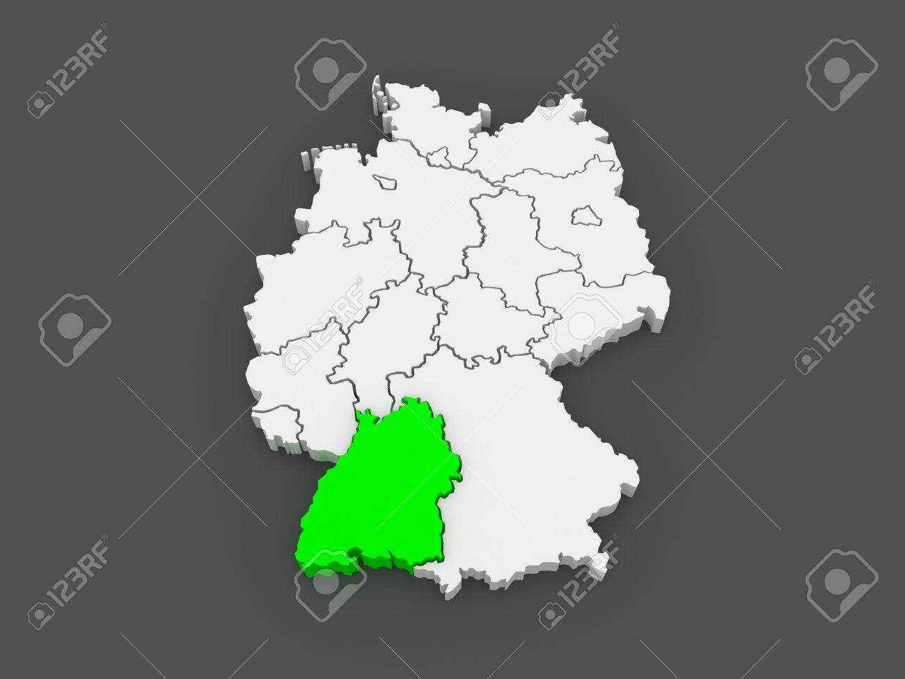 Map Of Baden Wurttemberg Germany 3d Stock Photo Picture And