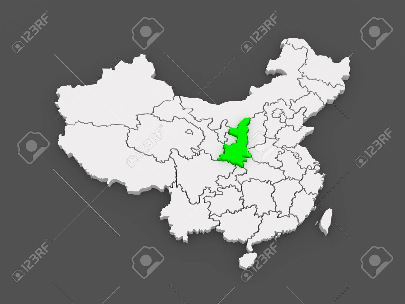 Map of shaanxi china 3d stock photo picture and royalty free map of shaanxi china 3d stock photo 29969227 gumiabroncs Images