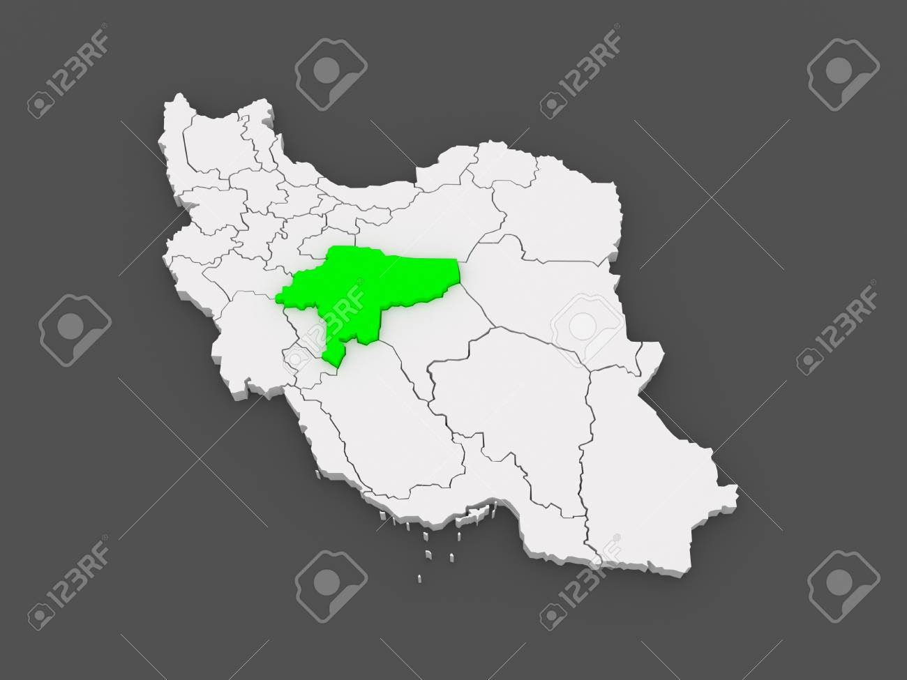Map Of Isfahan. Iran. 3d Stock Photo, Picture And Royalty Free Image ...