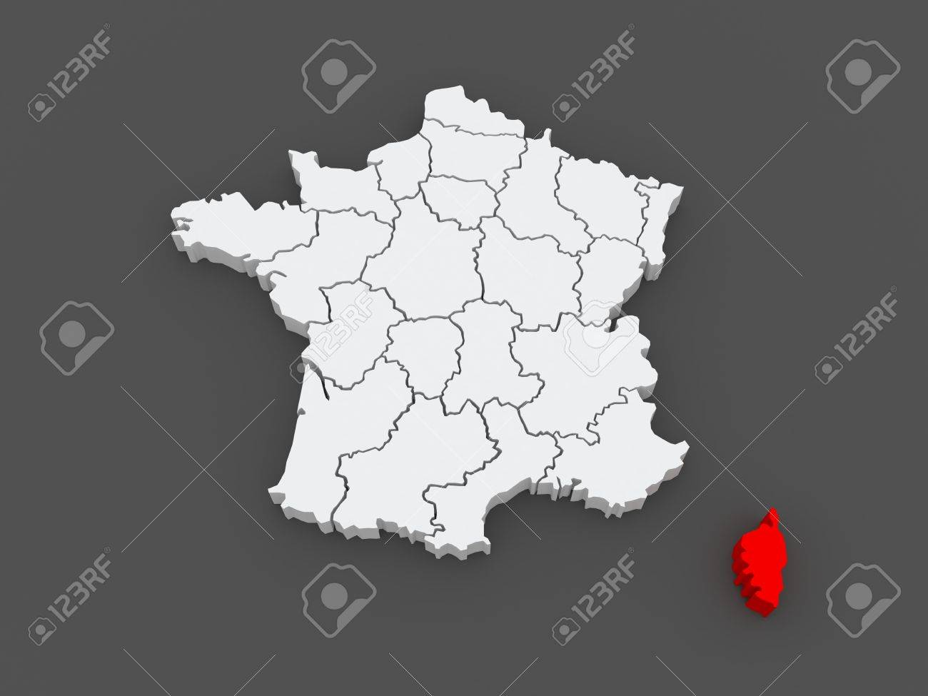 Map Of Corsica France 3d Stock Photo Picture And Royalty Free