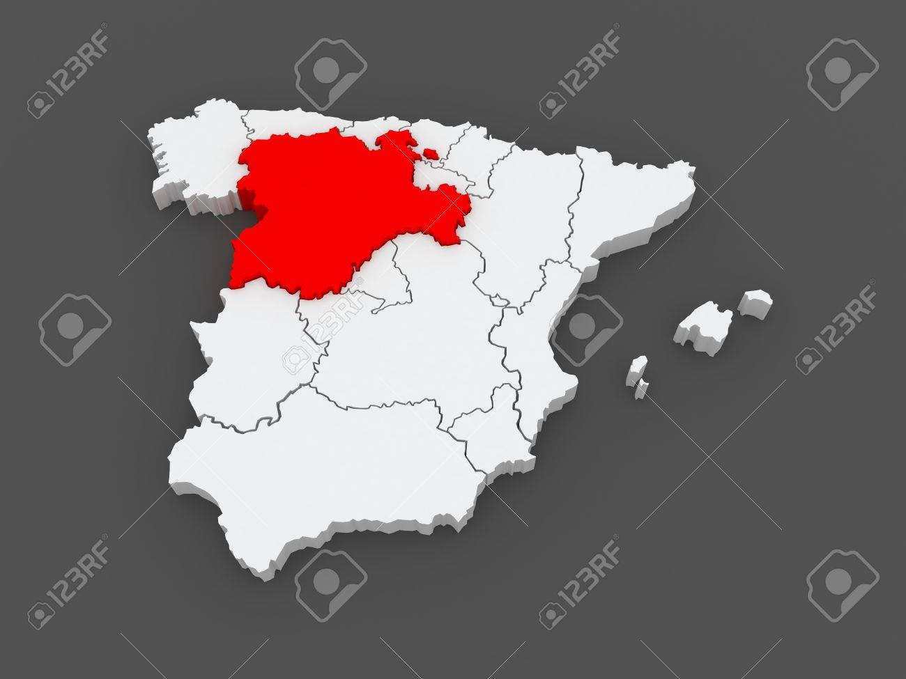 Map Of Castile And Leon. Spain. 3d Stock Photo, Picture And Royalty Castile Map on