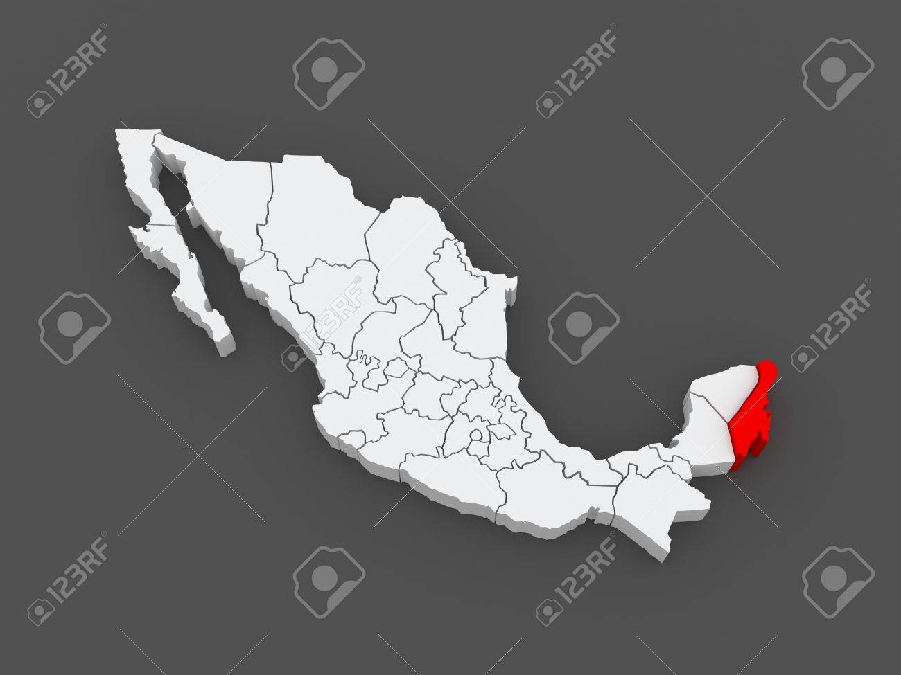 Map Of Quintana Roo Mexico 3d Stock Photo Picture And Royalty