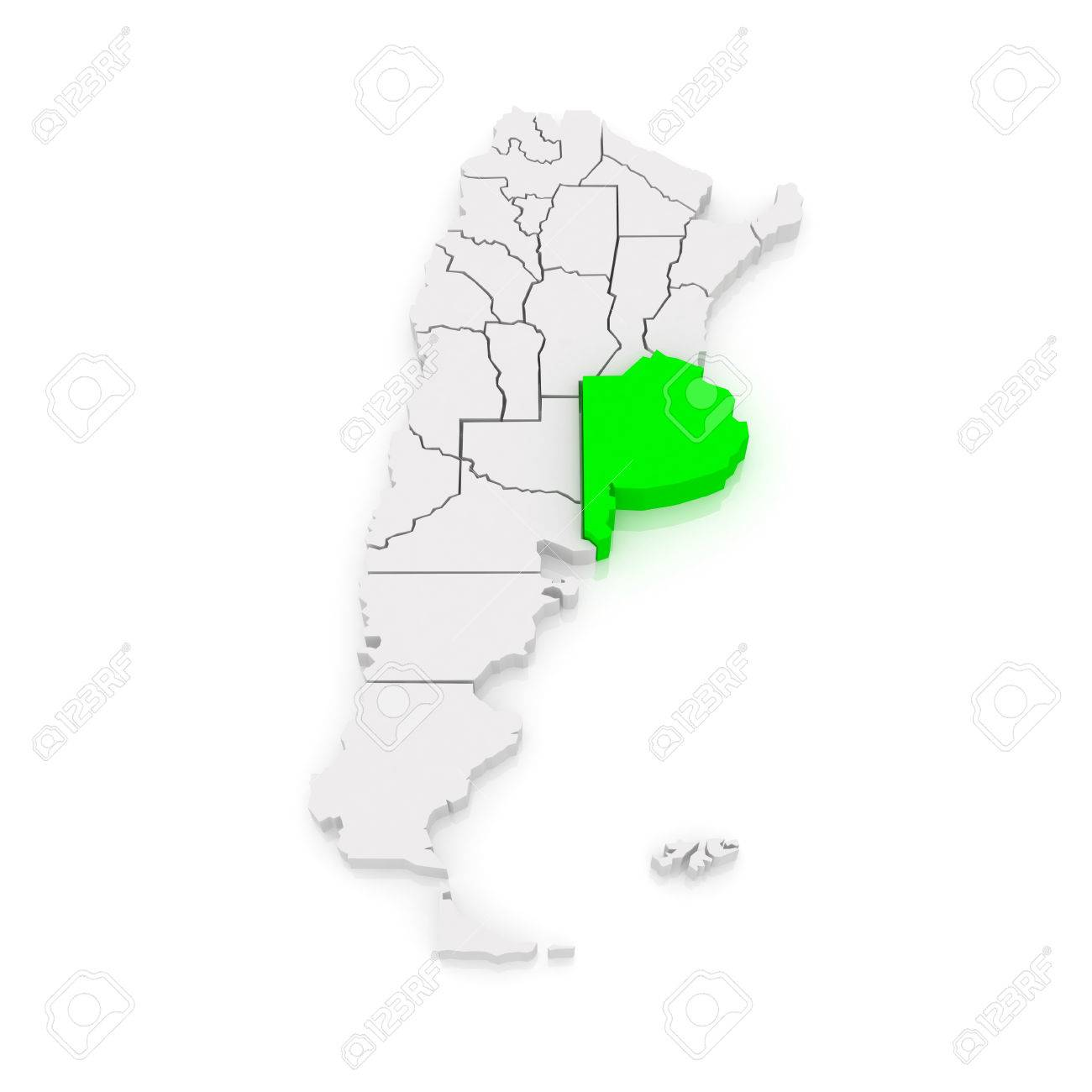 Map Of Buenos Aires Argentina D Stock Photo Picture And - Argentina 3d map