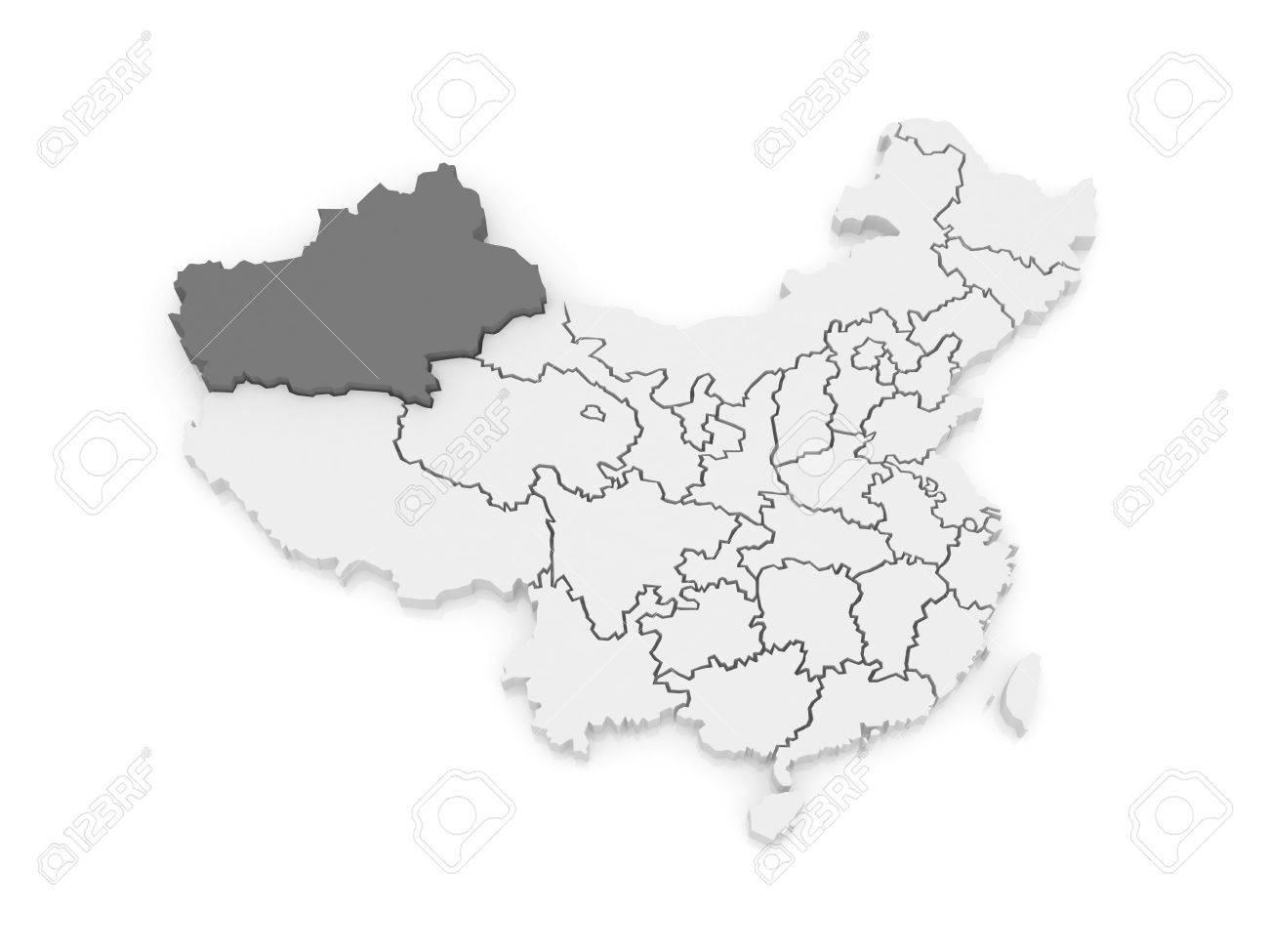 Map Xinjiang.Map Of Xinjiang Uygur China 3d Stock Photo Picture And Royalty