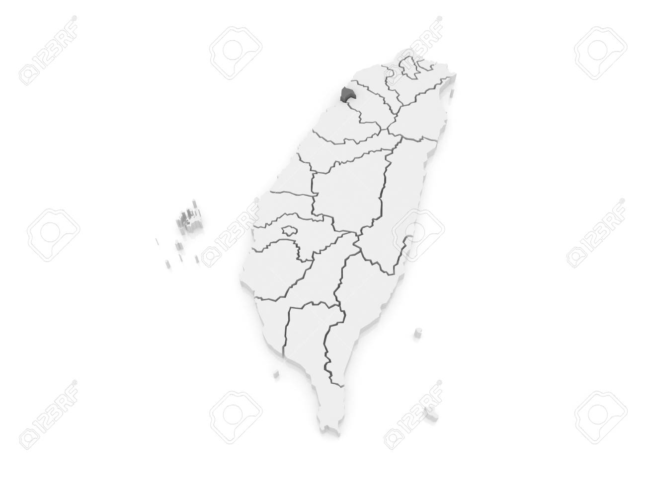 Map Of Hsinchu City. Taiwan. 3d Stock Photo, Picture And Royalty ...