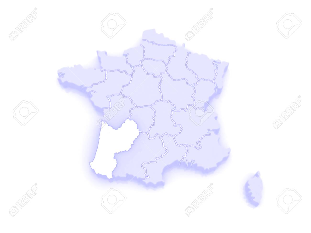 Map Of Aquitaine Region France 3d Stock Photo Picture And