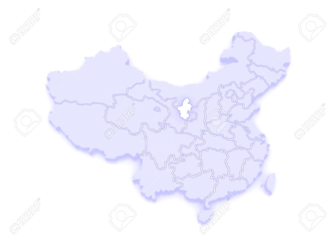 Ningxia China Map.Map Of Ningxia Hui Autonomous Region China 3d Stock Photo Picture