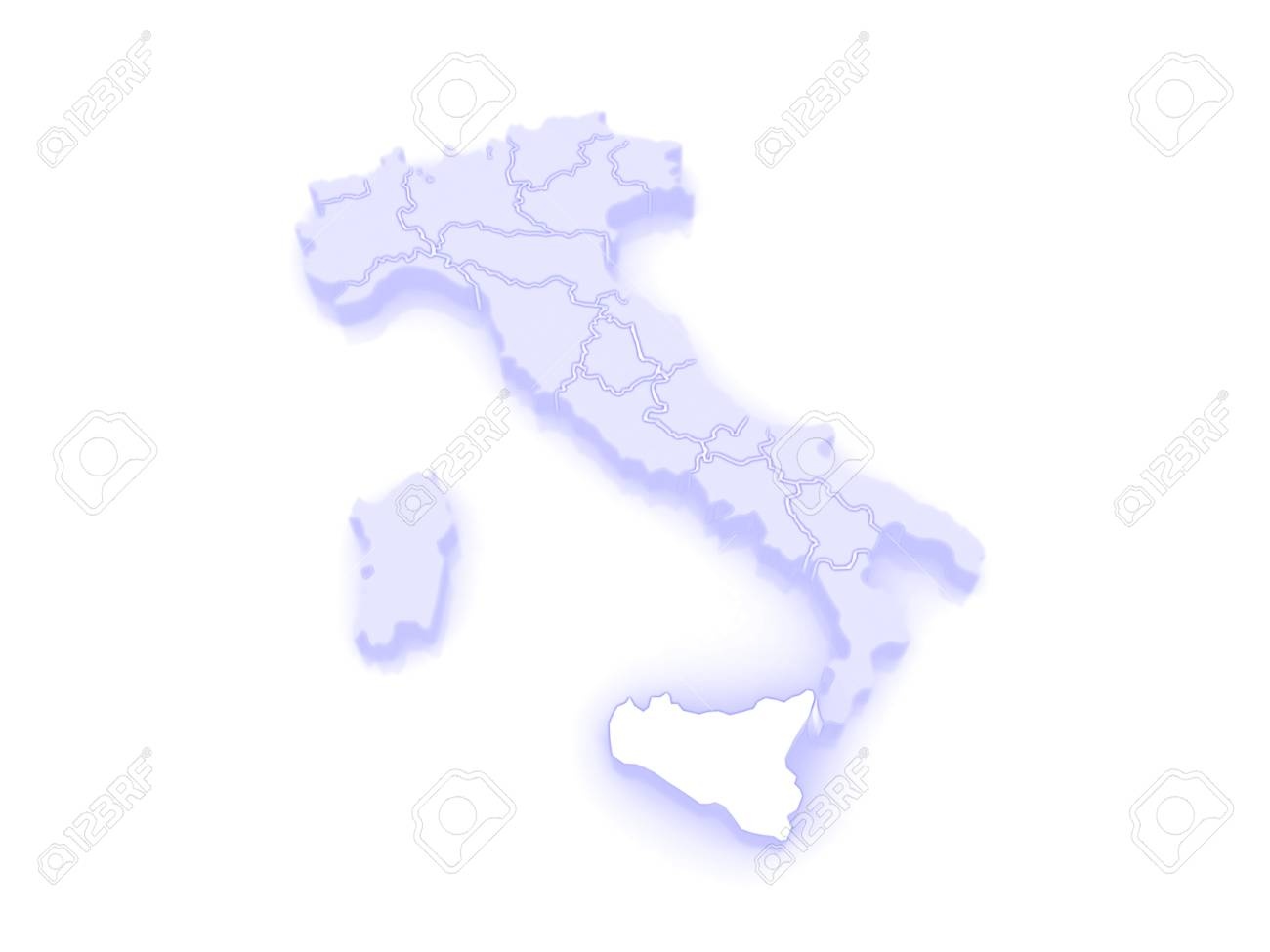 Map of Sicily. Italy. 3d