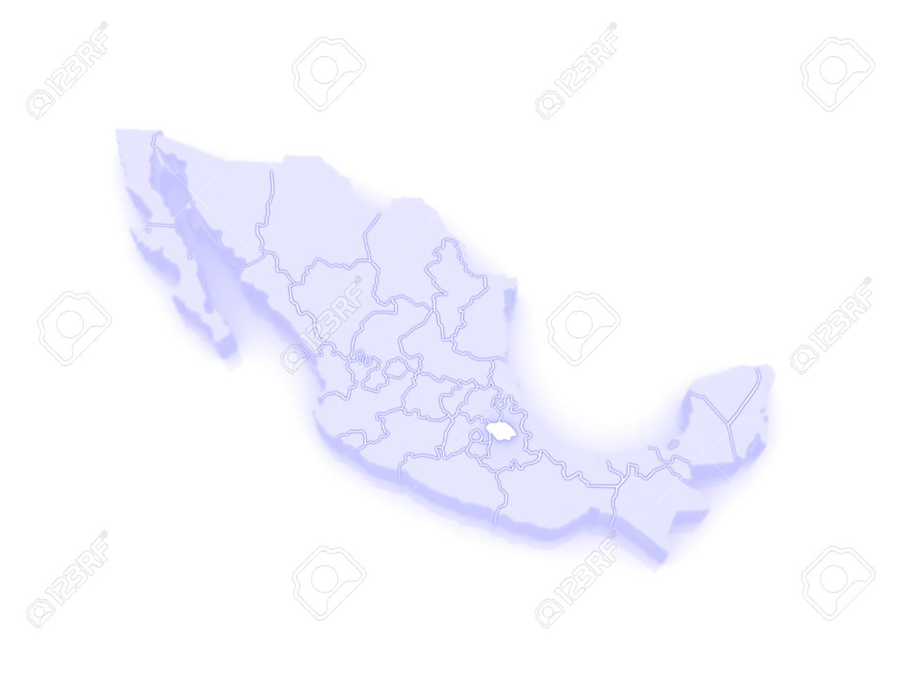 Map Of Tlaxcala Mexico 3d Stock Photo Picture And Royalty Free