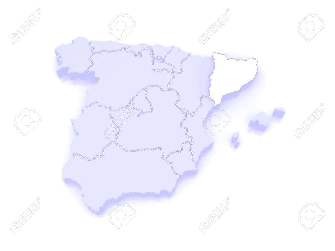 Map Of Catalonia Spain 3d Stock Photo Picture And Royalty Free