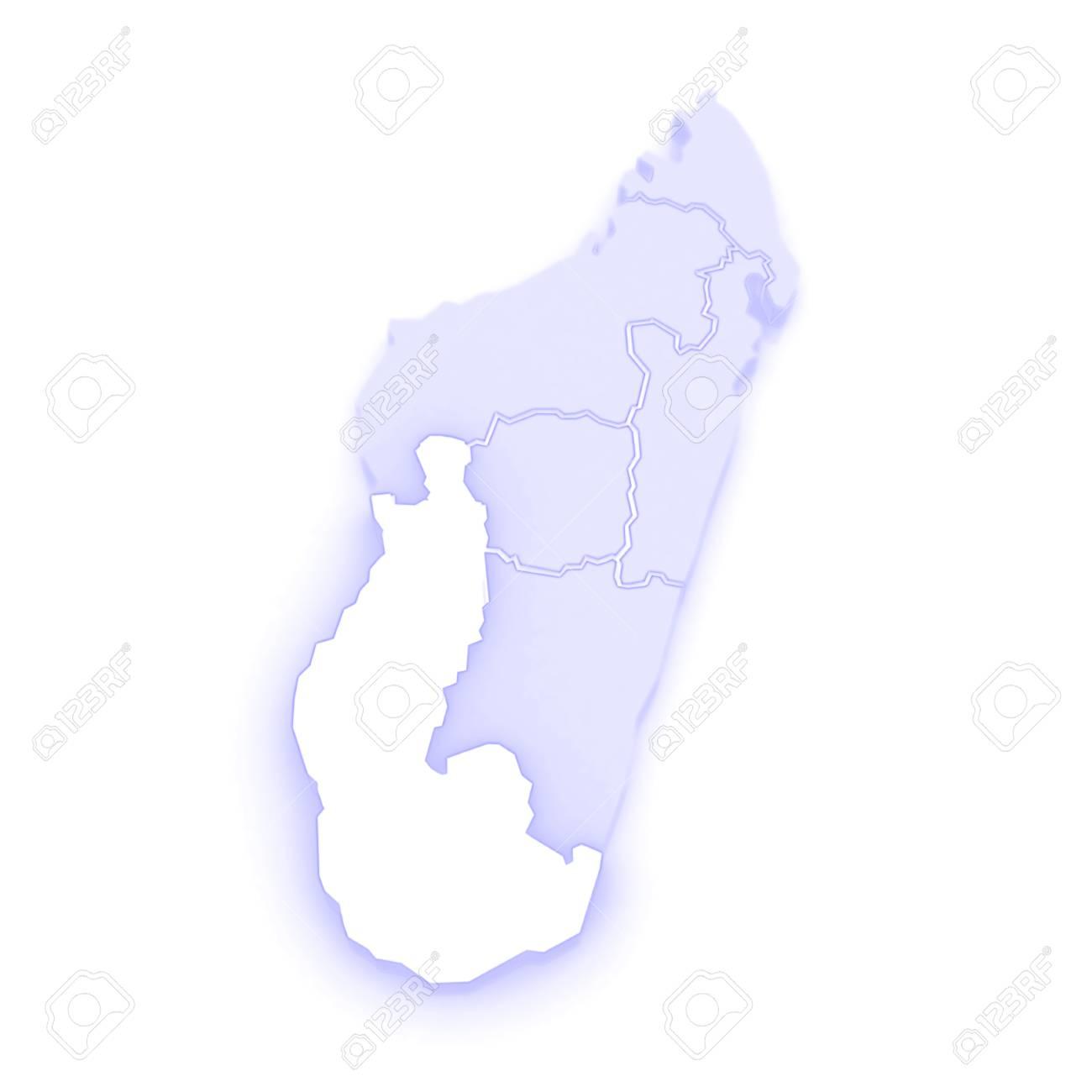 Map of Toliara. Madagascar. 3d