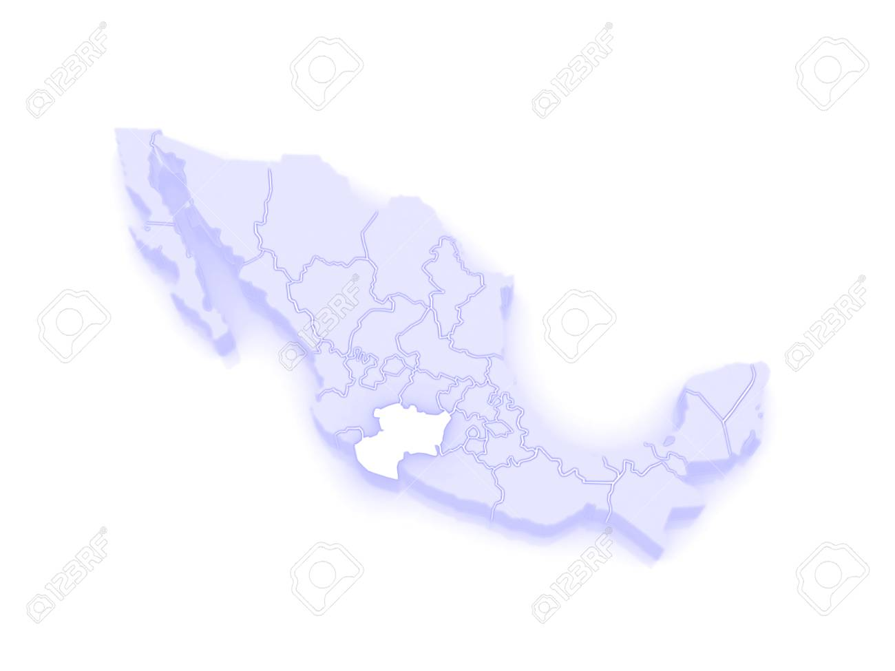 Map Of Michoacan. Mexico. 3d Stock Photo, Picture And Royalty Free ...