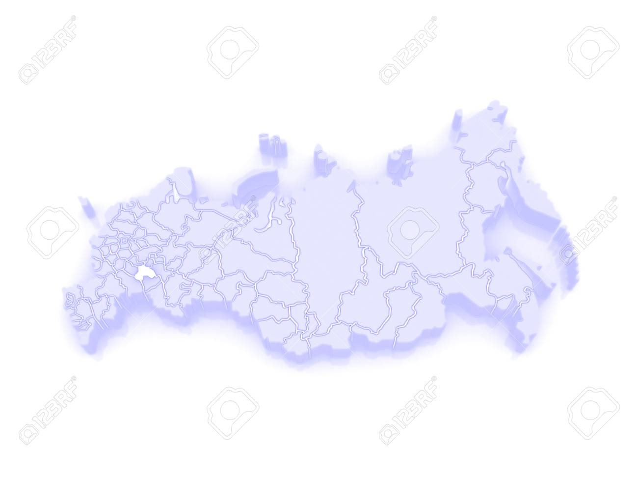 Map Of The Russian Federation Ulyanovsk Region 3d Stock Photo