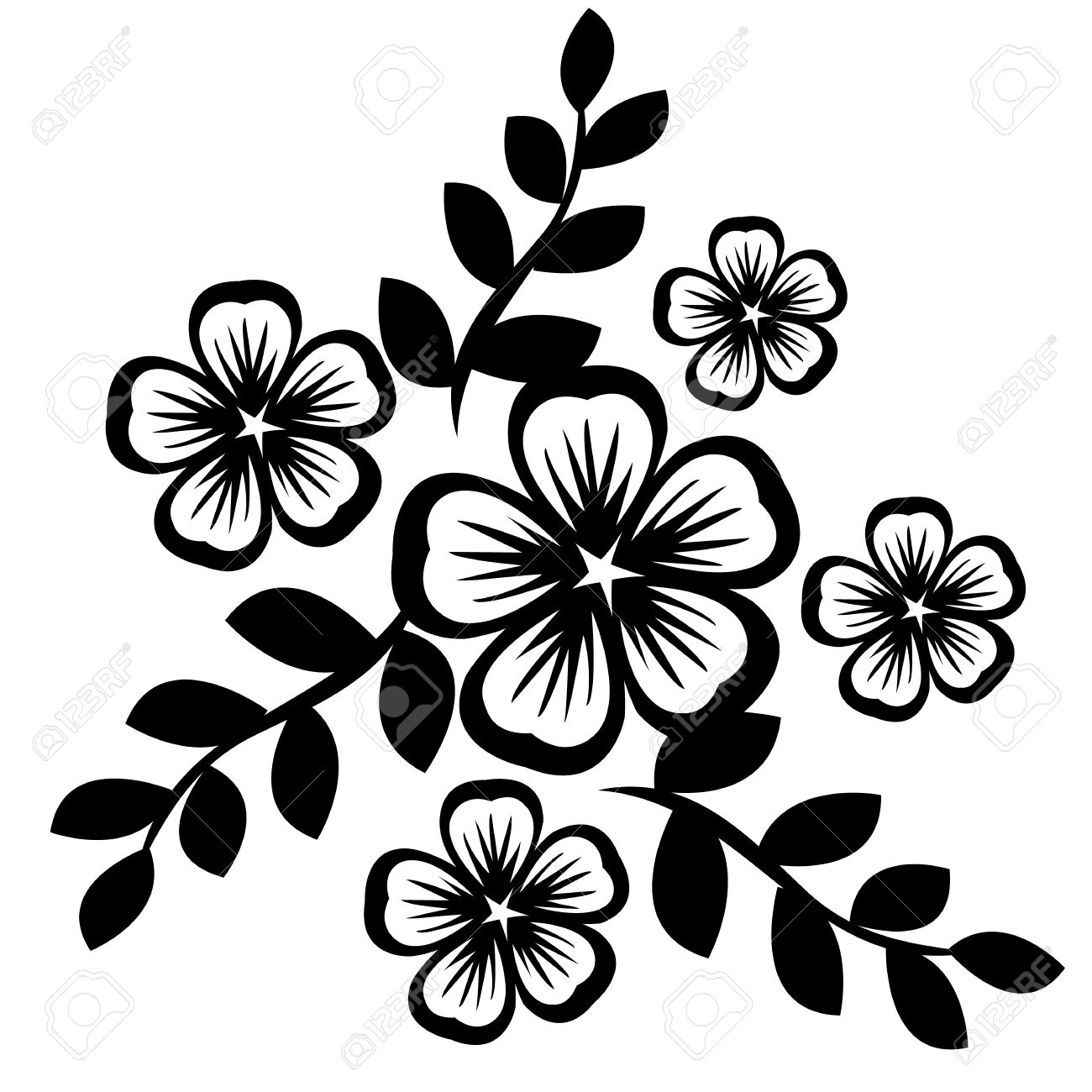 Black Silhouette Of Flowers Isolated On White Royalty Free Cliparts