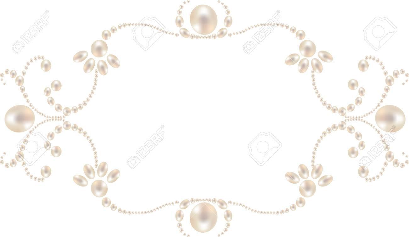 Schöne Perle Rahmen Isoliert Auf Weißem Hintergrund Lizenzfrei ...