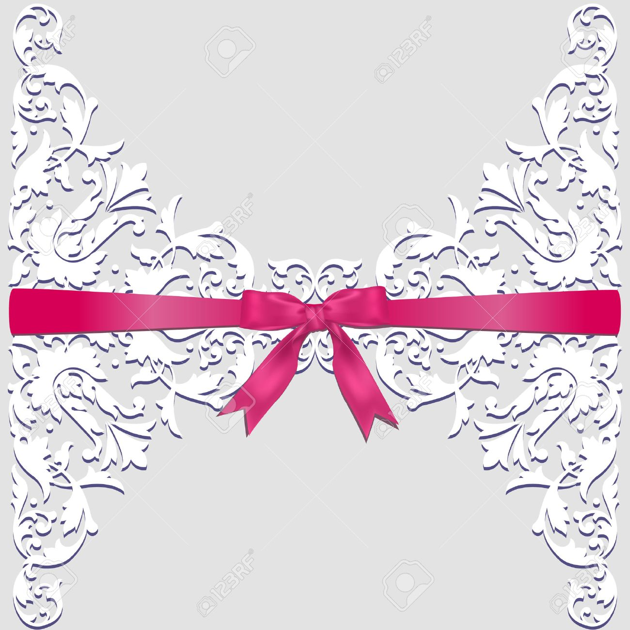 Invitation wedding or greeting card with lace border and red ribbon imagens invitation wedding or greeting card with lace border and red ribbon stopboris