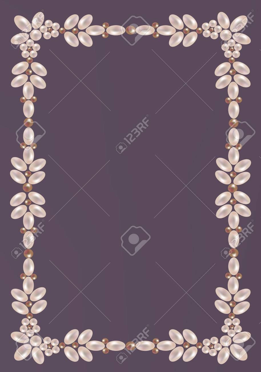 Eleganter Rahmen Von Perlen Mit Blumenverzierung Lizenzfrei Nutzbare ...