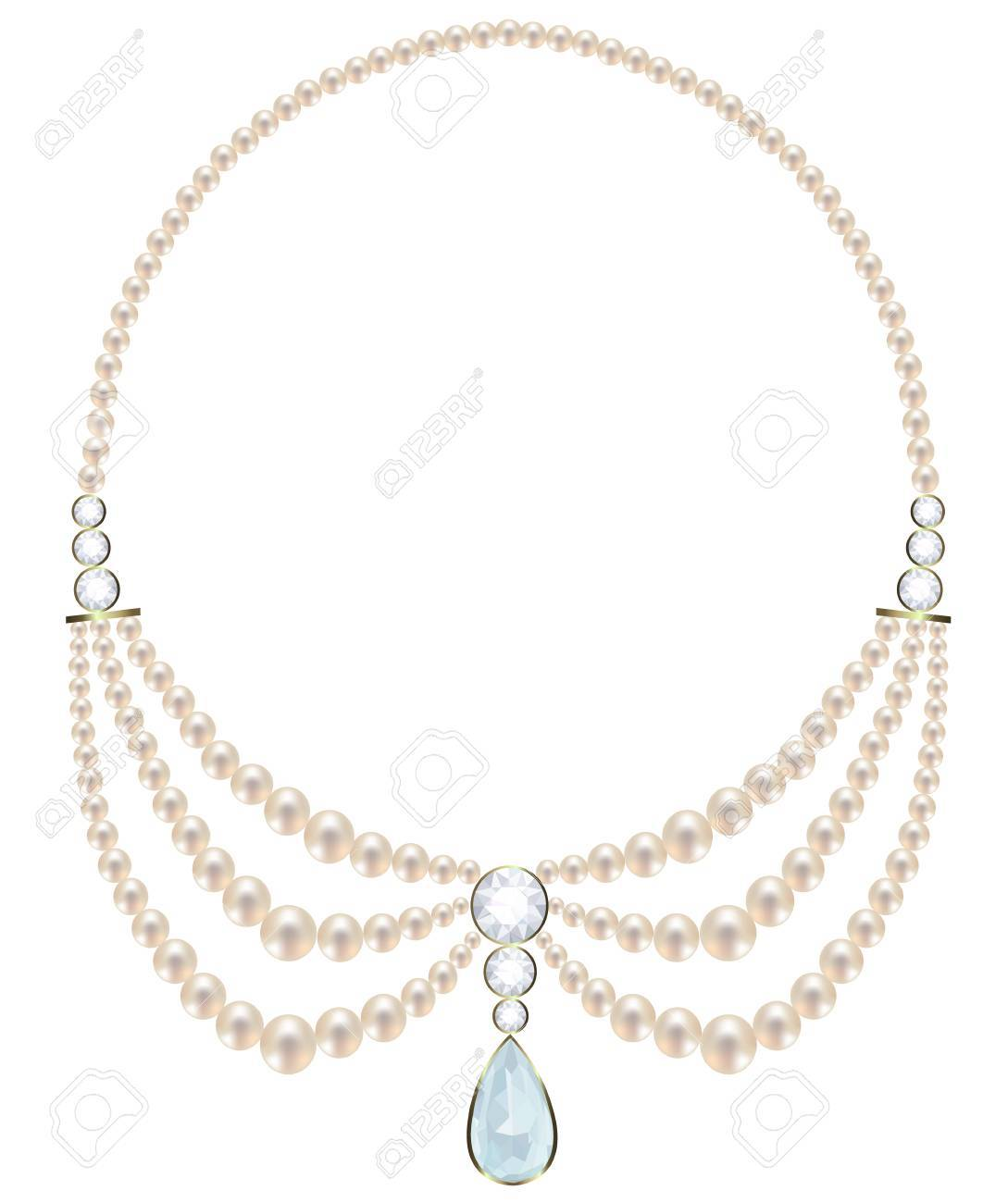 77b8ca54b7fe Collar de perlas de tres hilos con una suspensión de diamante Foto de  archivo - 38185992