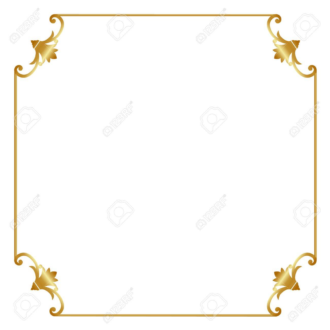 Elegant Gold Frame Isolated On White Background Royalty Free ...