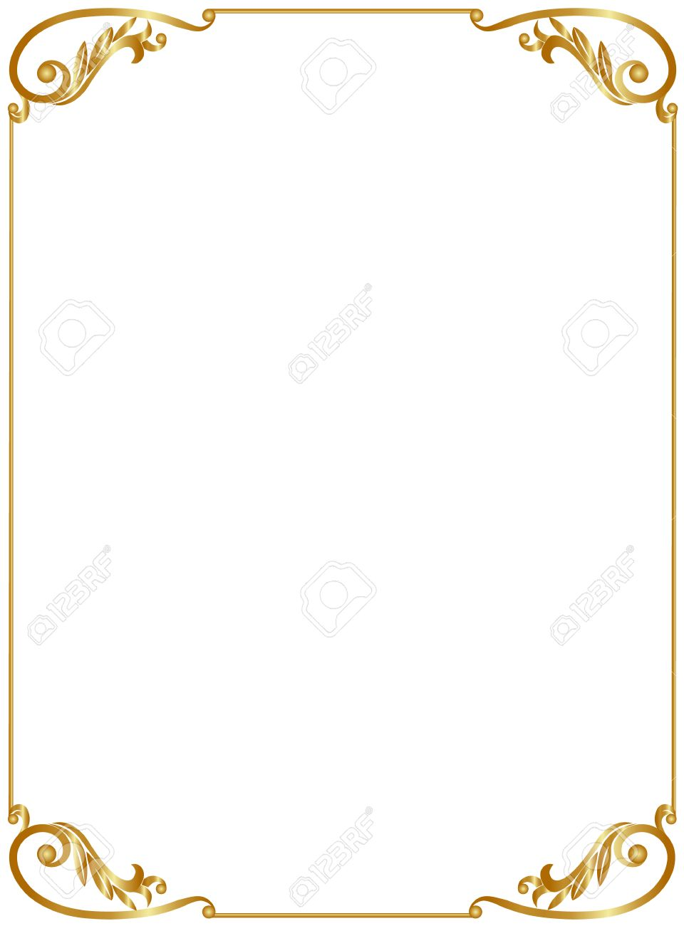 Elegant Gold Frame Isolated On White Background Royalty-Fri Clipart ...