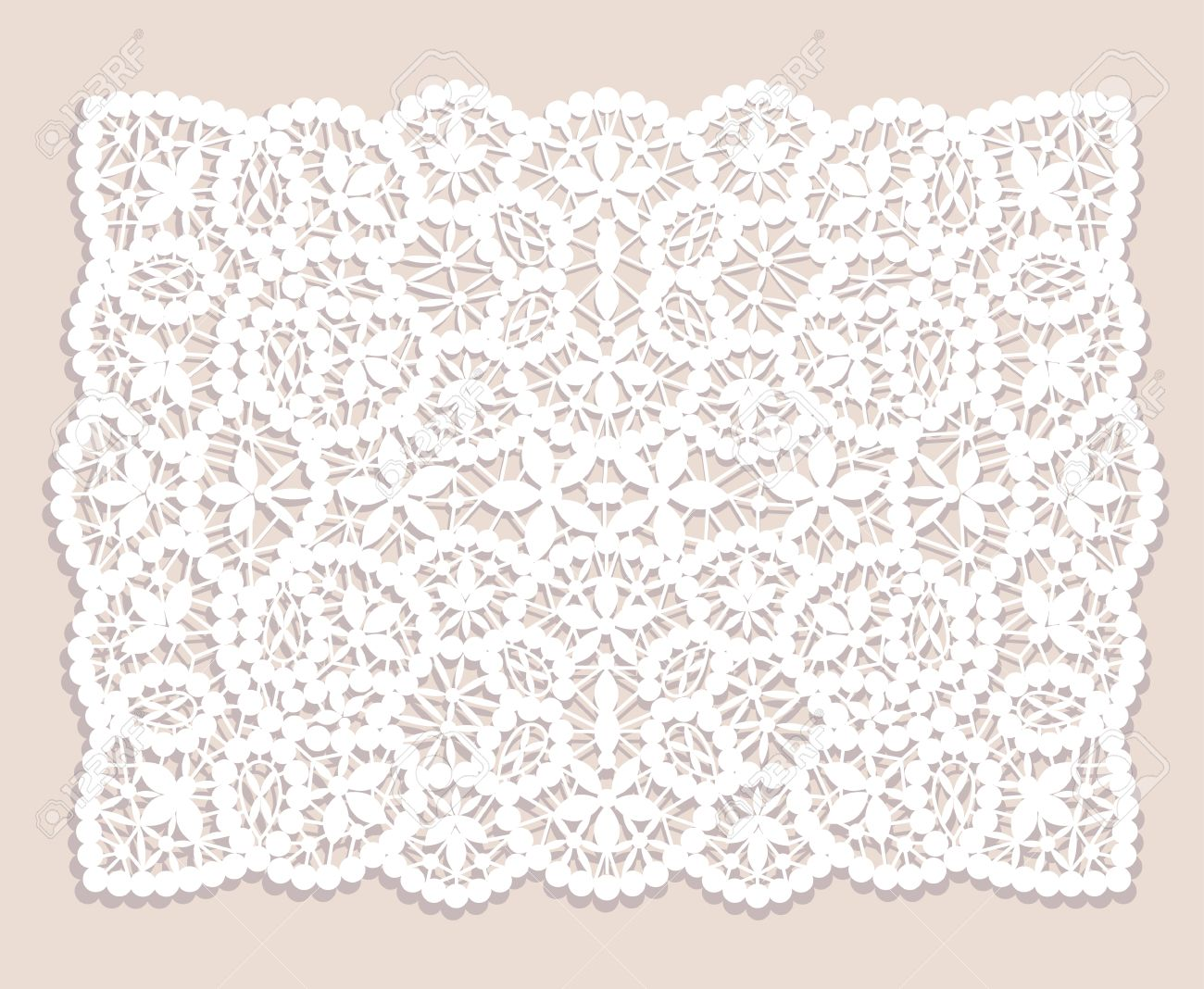 White Lace Doily With Flowery Pattern On A Beige Background Royalty ...