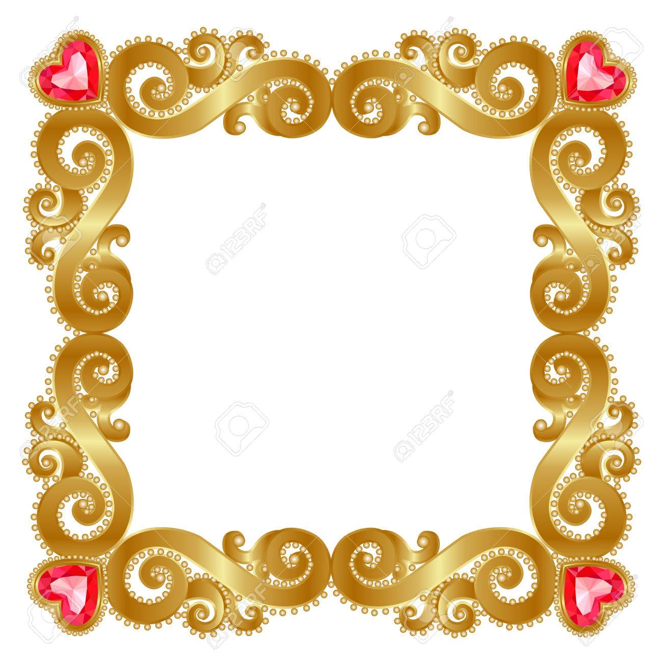 fba19cde006 Delicate gold frame with ruby hearts on a white background Stock Vector -  41956987