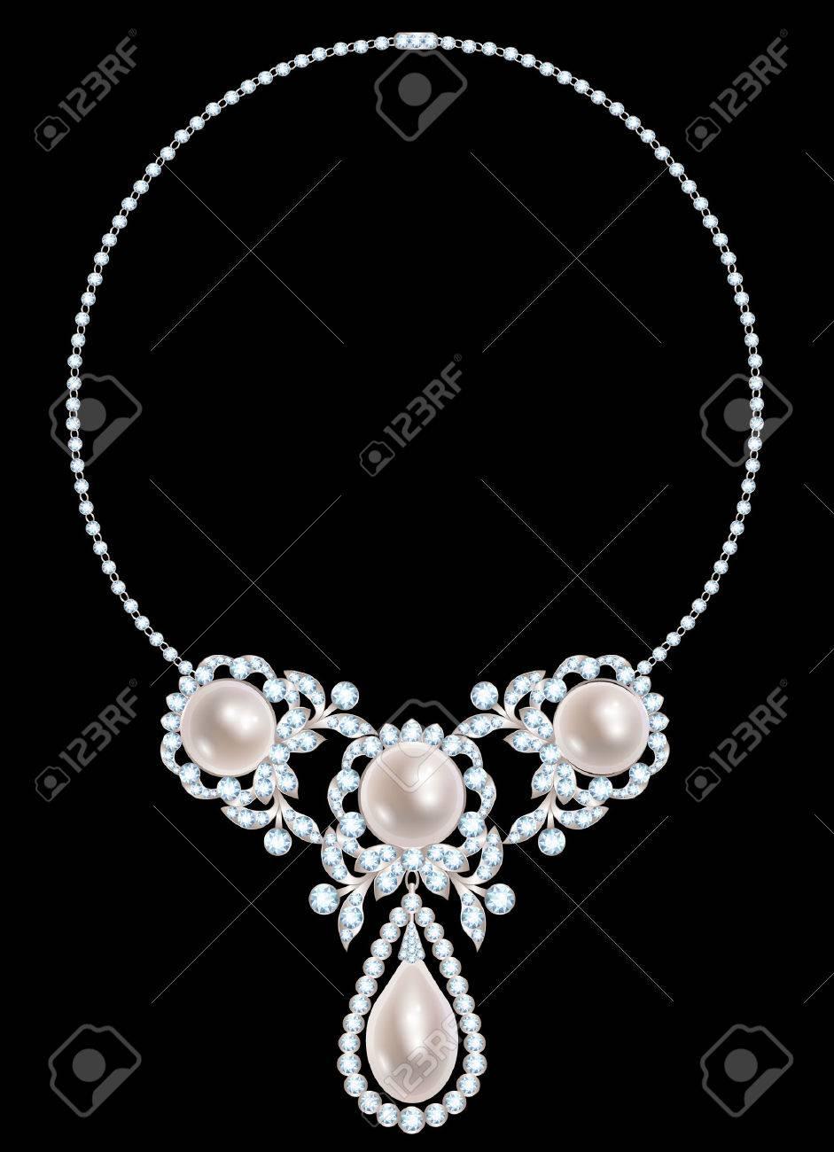 e09bbc721978 Collar de la joyería con perlas y diamantes sobre fondo negro Foto de  archivo - 44505141