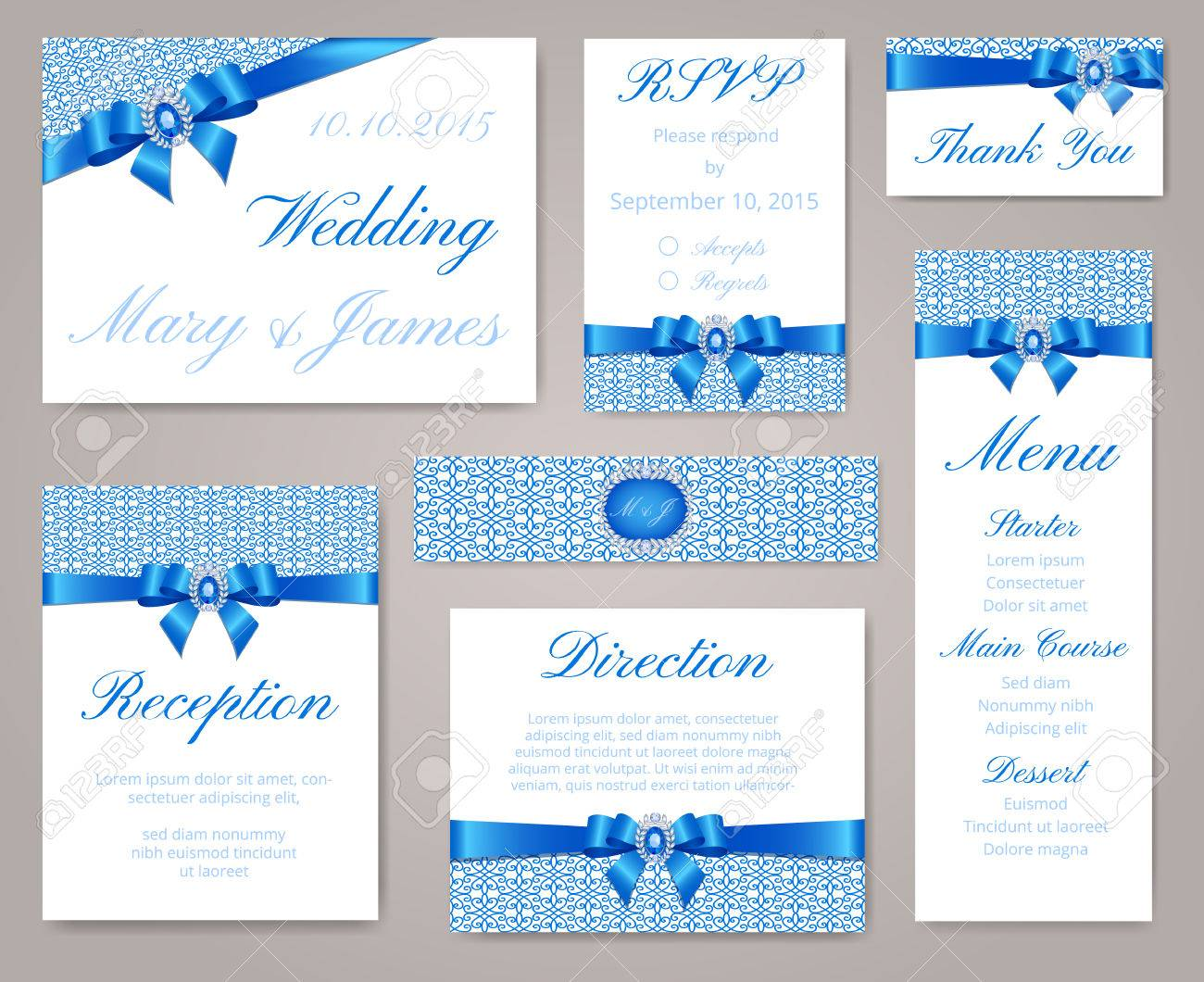 Wedding Invitation Template Set With Lace Border Blue Bow And