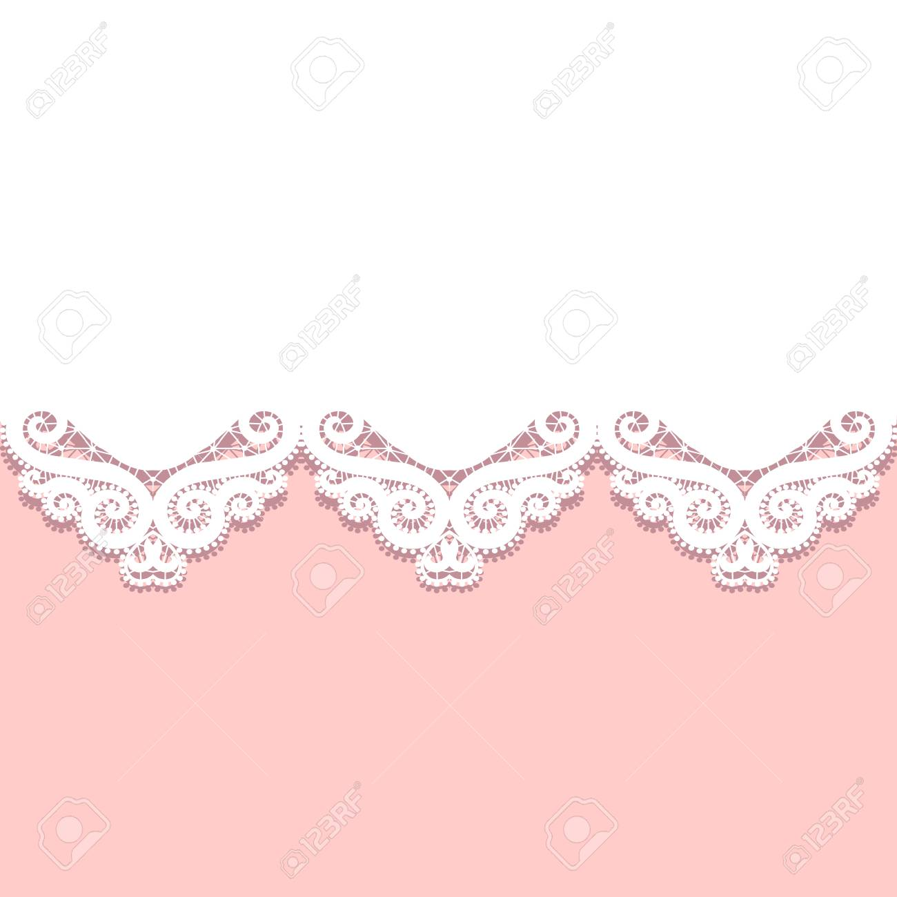 Wedding Invitation Template With Paper Lace Border Royalty Free ...