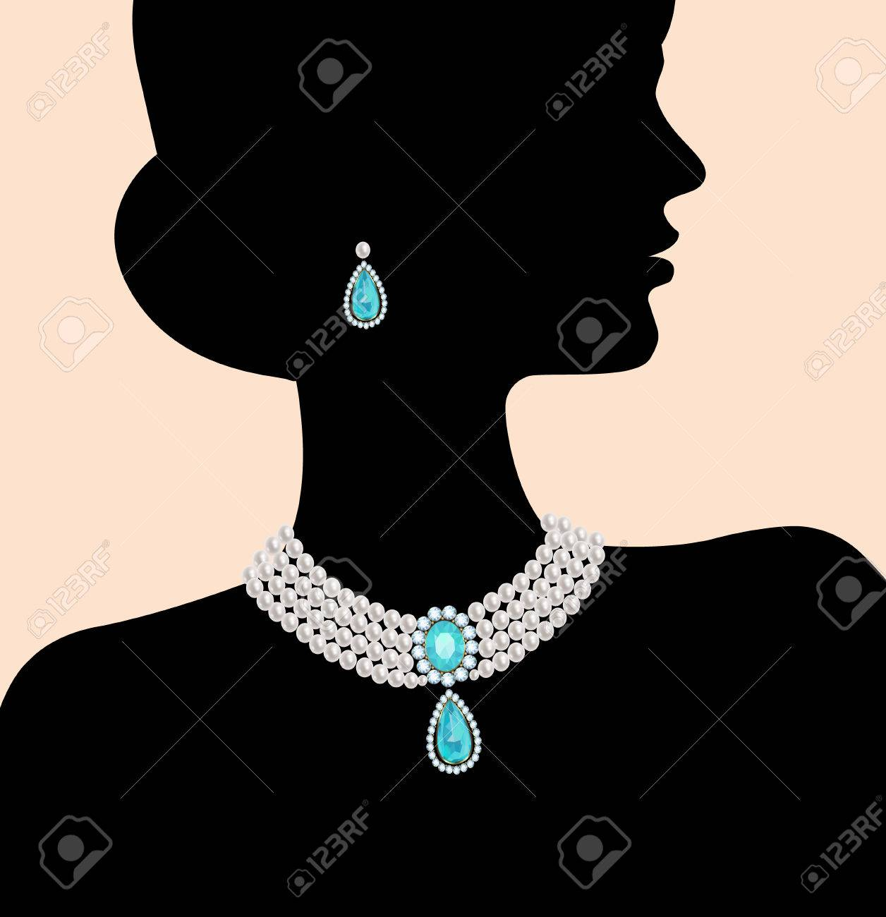Silhouette Of A Woman With A Pearl Necklace And Earrings Stock Vector   48318202