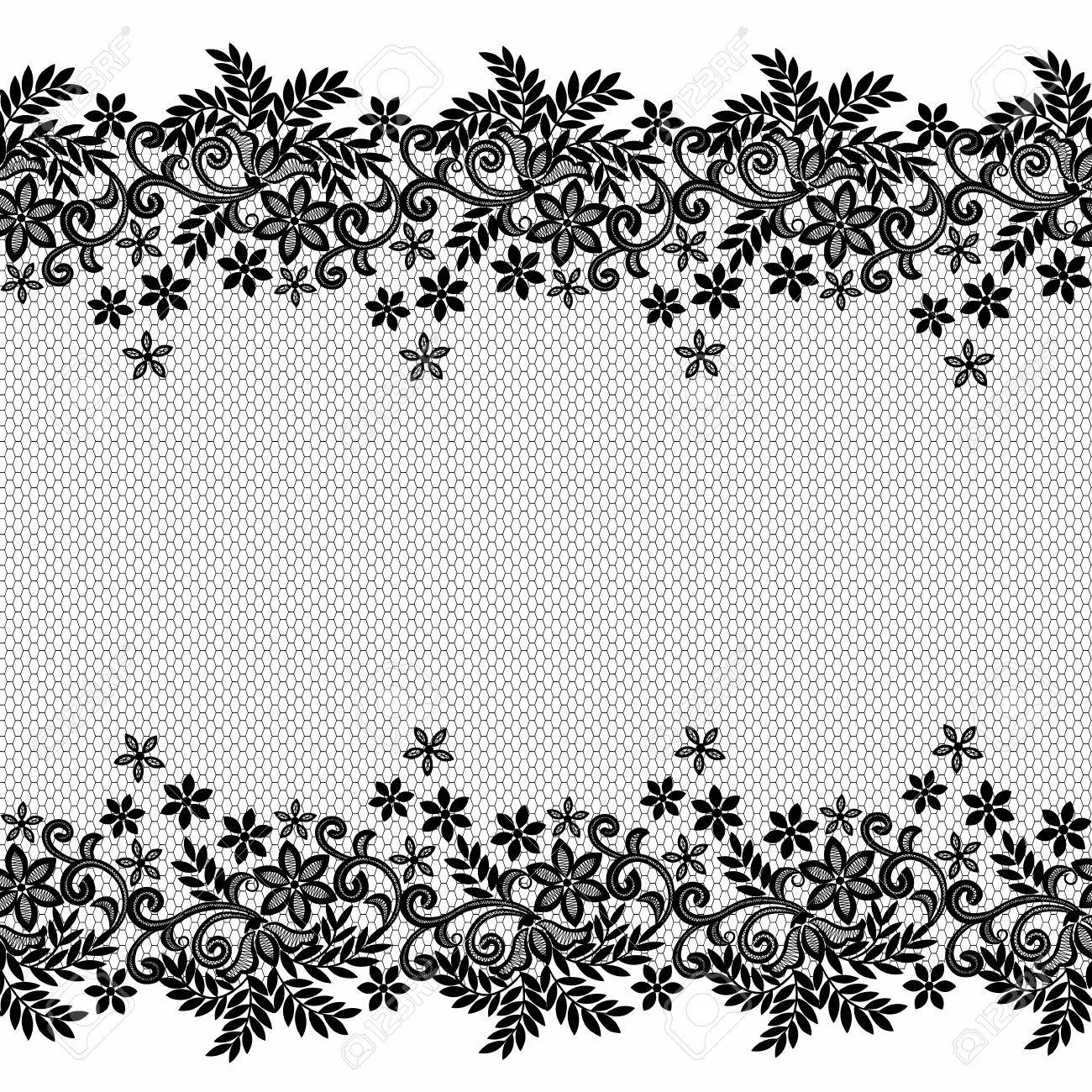 black floral lace border on a white background royalty free cliparts rh 123rf com vintage lace border vector free white lace border vector