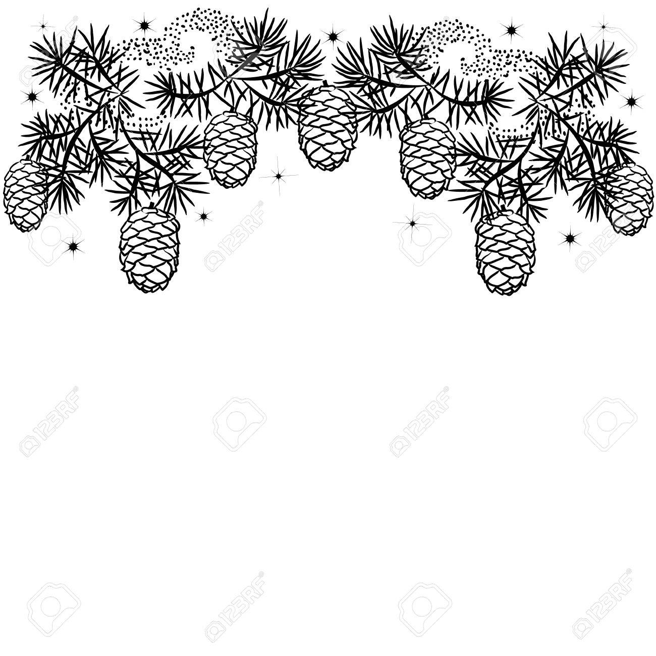 Christmas Border Black And White.Silhouette Illustration Christmas Border Of Pine Branches With