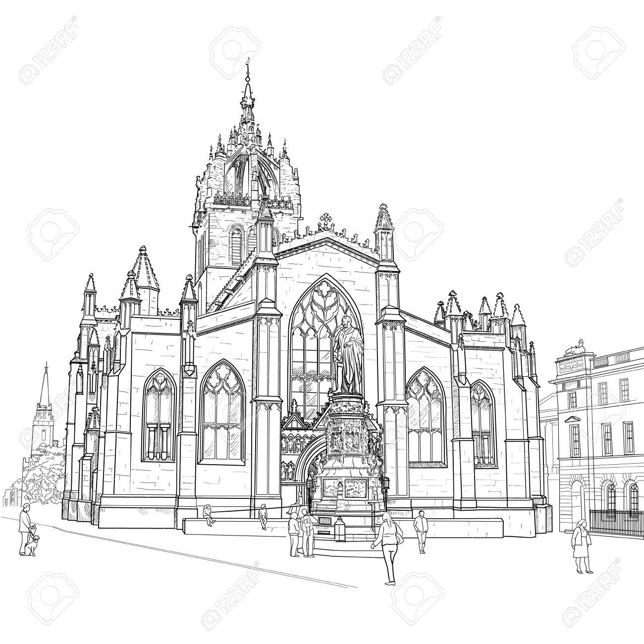 Drawing sv gillis church in edinburgh scotland vector stock vector 58582334