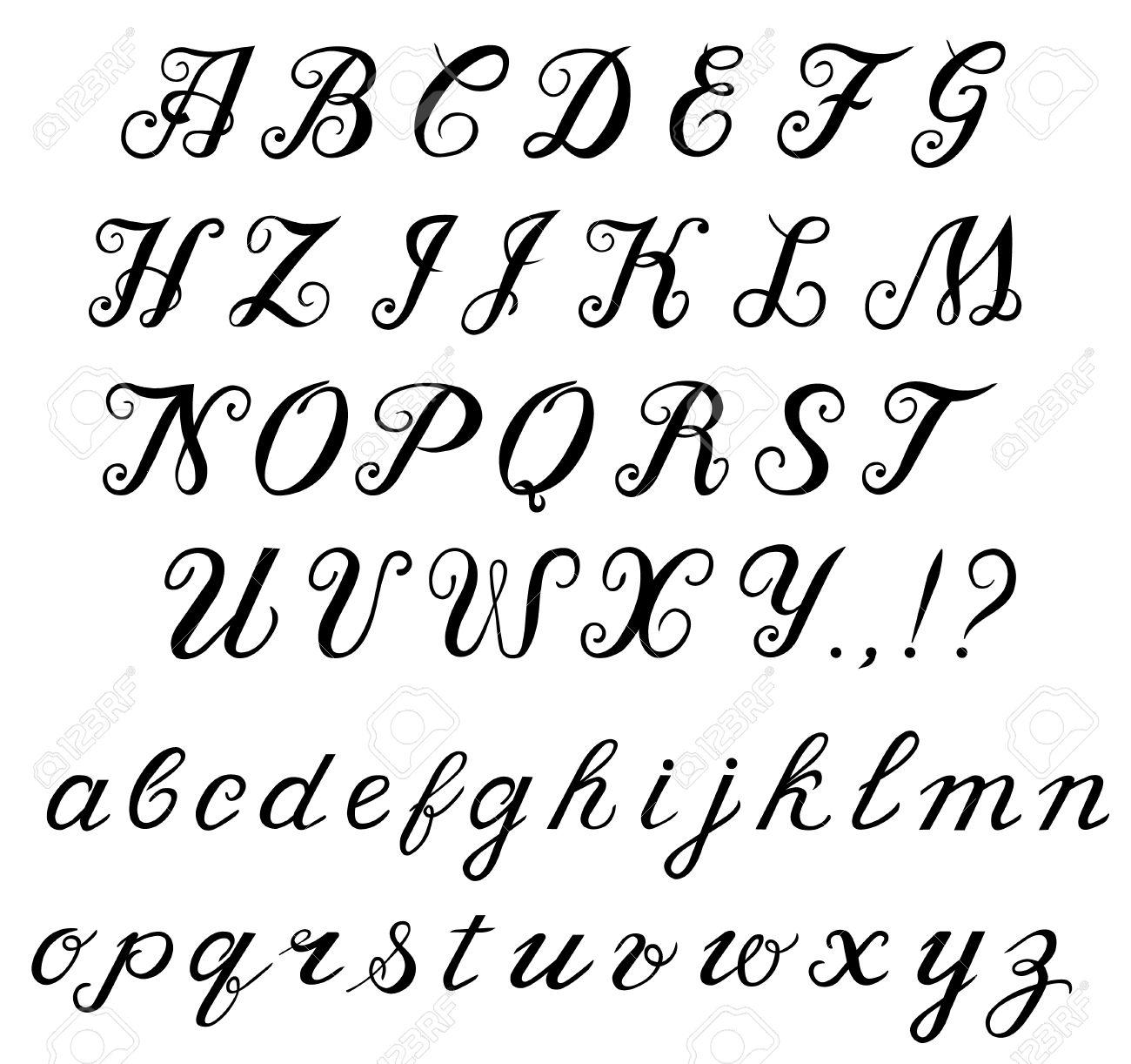 Elegant Letters Hand Written Calligraphic Font Alphabet Capital