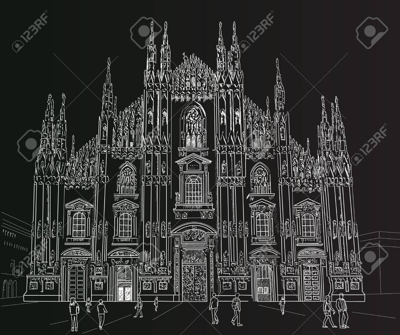 Milan Cathedral Gothic Architecture Painted With Chalk On Black Stock Vector
