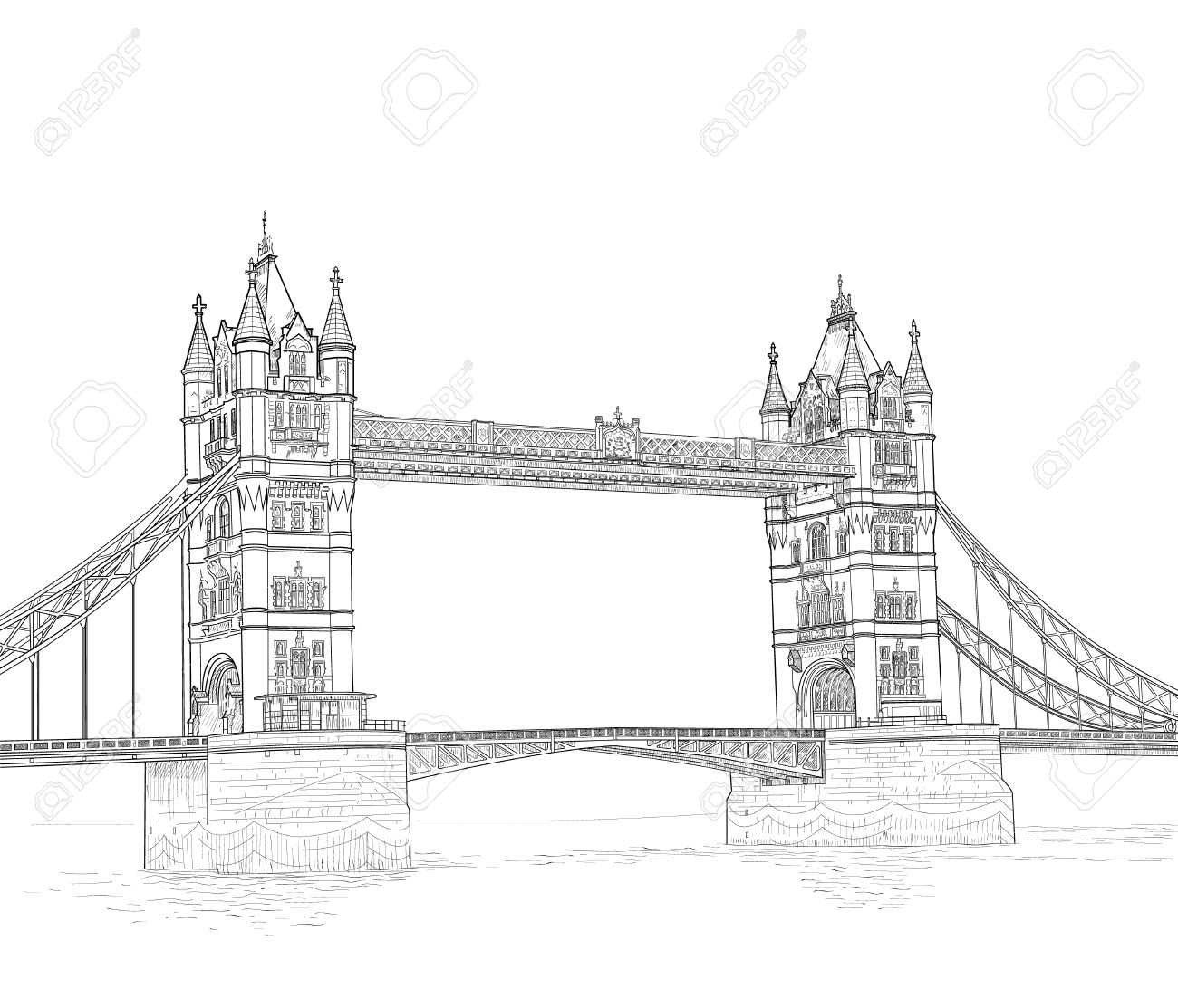 Croquis Du Tower Bridge à Londres En Angleterre Illustration Vectorielle