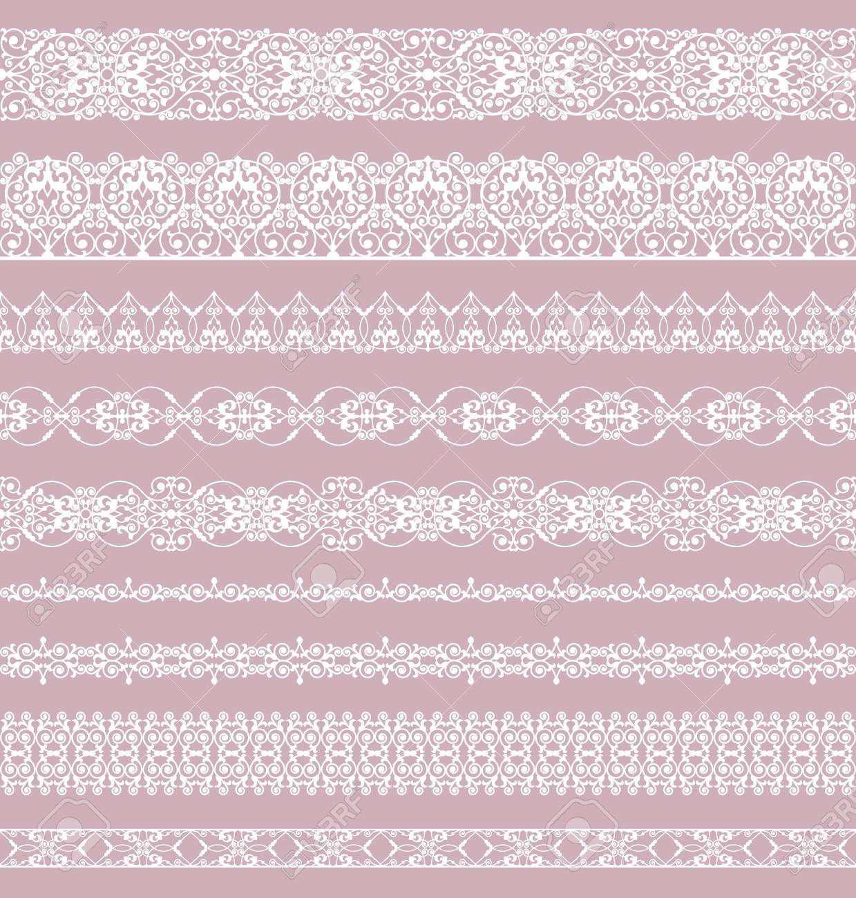 Set of white borders on a pink background - 125006566
